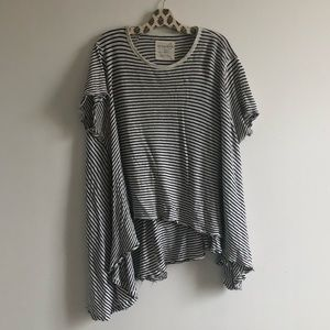 Free People Striped Asymmetrical Tee